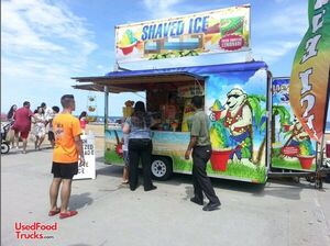 7' x 12' Wells Cargo Shaved Ice Snowball Concession Trailer w/ Flavor Station.