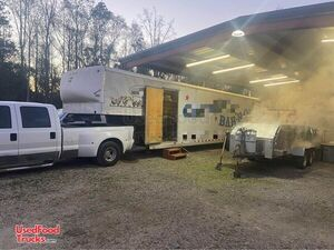 Turnkey Business Wells Cargo BBQ Catering Concession Trailer w/ 2 Ford Trucks.