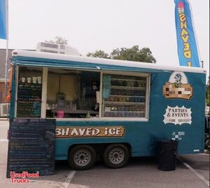 Wells Cargo 7' x 16' Health Department Approved Shaved Ice Snowball Concession Trailer.