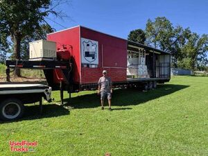 2003 - 40' Barbecue Rig Concession Trailer with Porch and Bathroom.