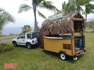 One of a Kind Tiki Hut Style Shaved Ice Concession Trailer / Eye-Catching Snowball Stand.