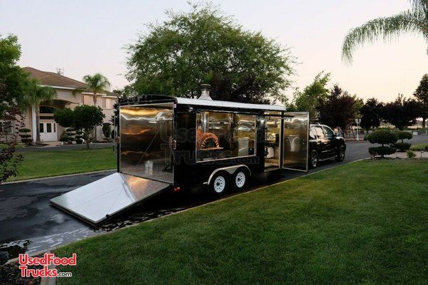 Turnkey 2015 Patriot 8' x 16' Wood-Fired Pizza Concession Trailer w/ Nissan Truck.