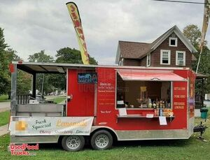 8.5' x 24' Shaved Ice, Lemonade & Kettle Corn Concession Trailer with Porch.