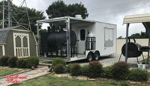 2018 8.6' x 22' Mobile Kitchen Barbecue Concession Trailer with a 10' Porch.