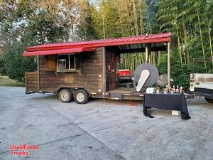 2004 8' x 28' Log Cabin Style Barbecue Concession Trailer with Porch / Mobile BBQ Unit.