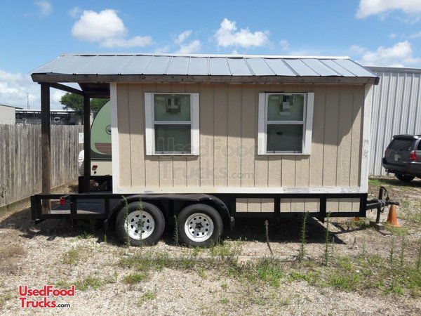2017 - 7' x 16' Used Snowball Shaved Ice Concession Trailer with Porch.