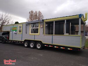 2008 - 8.5' x 32' Barbecue Concession Trailer with Porch / BBQ Rig.