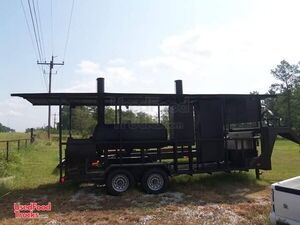 Used 24' Open Covered BBQ Pit Gooseneck Smoker Tailgating Trailer.