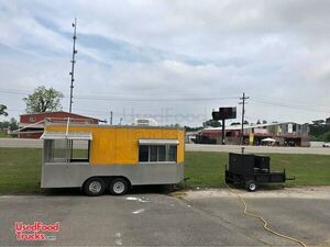 20' Barbecue Concession Trailer w/  Towable Commercial Open BBQ Smoker Trailer.