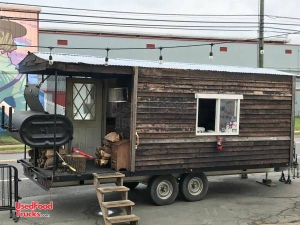 Log Cabin 8.5' x 19' BBQ Concession Trailer with Porch / Used Barbecue Pit.