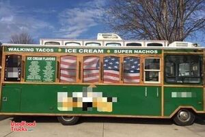 Eye-Catching Trolley Ice Cream Truck / Used Soft Serve Truck.