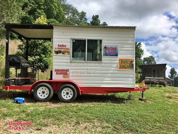 8' x 12' Barbecue Concession Trailer with Porch / Mobile BBQ Trailer.