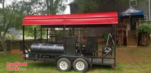 2010 - 7' x 16' Open Covered BBQ Pit Smoker Trailer / Tailgating and BBQ Rig.