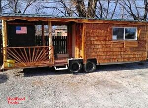 Rustic Cabin Style 8' x 24' Barbecue Food Concession Trailer with Porch.