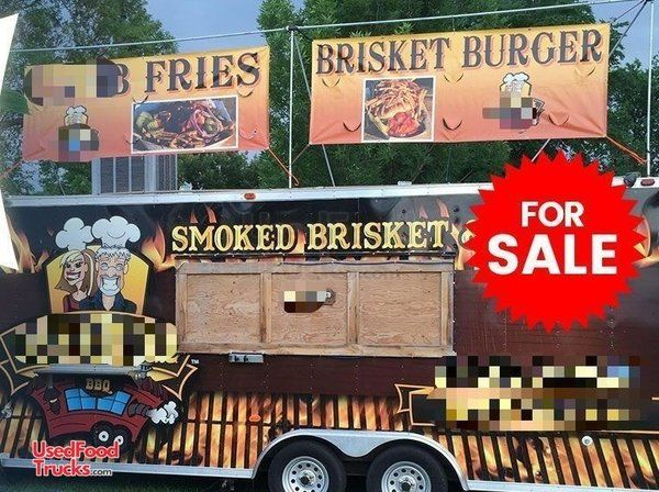 Solid 2012 - 8' x 25' Turnkey Ready Barbecue Concession Trailer with Porch.